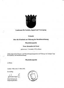 Physiotherapieausbildung 1999-2002